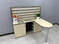 Бежевый стол для маникюра со складной столешницей