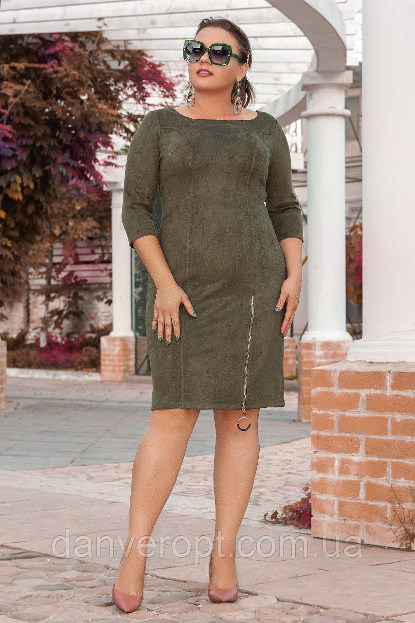 Платье женское модное стильное с молнией размер 50-56 купить оптом со склада 7км Одесса