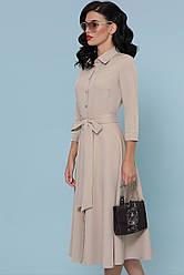 Стильное платье-рубашка приталенное с юбкой клеш Ефимия д/р бежевое