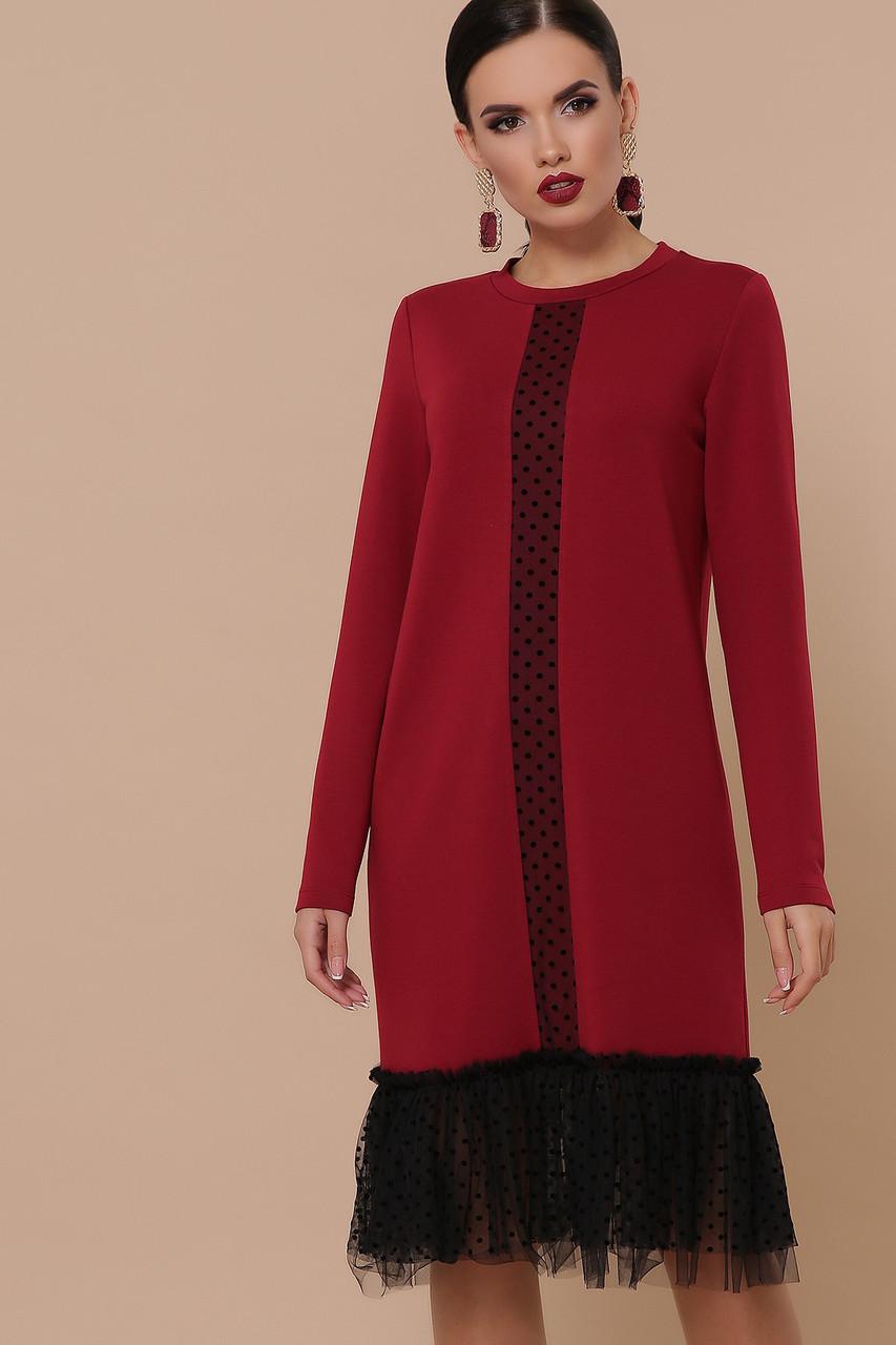 Бордовое прямое платье с фатином длинный рукав Касия д/р