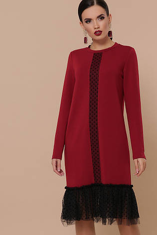 Бордове пряме плаття з фатином довгий рукав Касія д/р, фото 2