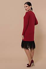 Бордове пряме плаття з фатином довгий рукав Касія д/р, фото 3