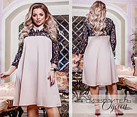 Женское платье свободного кроя с отделкой гипюра 48-50,52-54, 56-58,60-62