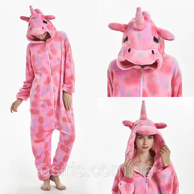 Пижама Кигуруми Единорог Розовый микрофибра Размер S M L XL / взрослые и детские кигуруми