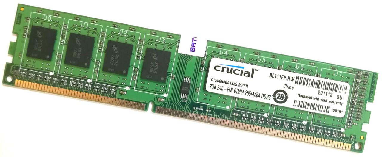 Оперативная память Crucial DDR3 2Gb 1333MHz PC3-10600U CL9 1R8 (CT25664BA1339) Б/У