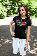 Жіноча футболка з вишивкою Ружа оранж