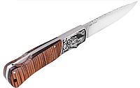 Нож складной в классическом стиле, с металлической и деревянной рукояткой, с узором, с отполированным клинком