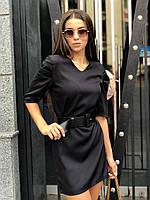 Стильное женское платье мини ft-430 (42-46, черный, белый)