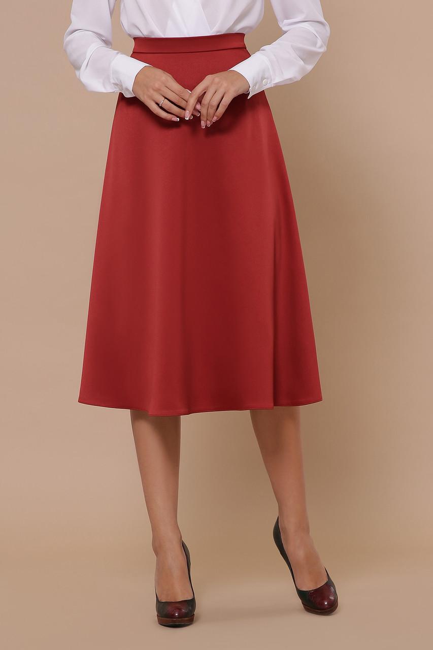 Атласная свободная юбка ниже колен цвет терракот
