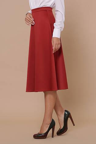 Атласная свободная юбка ниже колен цвет терракот, фото 2
