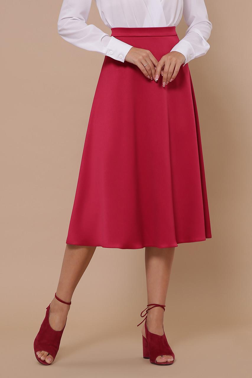 Стильная женская атласная юбка миди полусолнце цвета фуксии