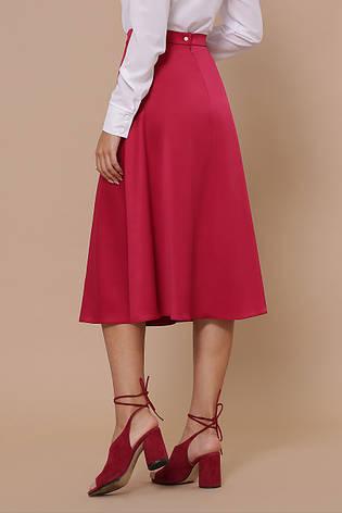 Стильная женская атласная юбка миди полусолнце цвета фуксии, фото 2