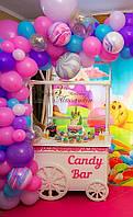 Красивый деревянный candy bar, кенди бар в виде тележки для сладостей - ручная работа