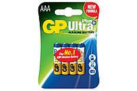 Батарейка GP AAA (LR03) Ultra Plus Alkaline БЛ4 мизинчиковая Модель: 24AUP-U4