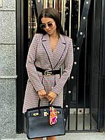 Элегантное платье-пиджак в клетку /серый, 42-46, ft-450/