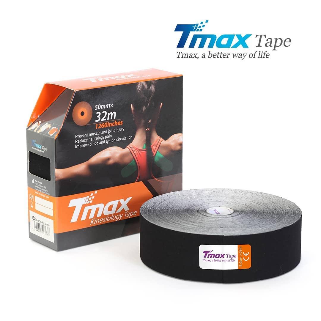 Кинезио тейп Tmax Cotton Tape X 5cm 32m (чорний)