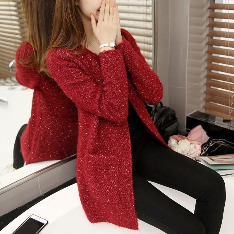 Женский теплый бордовый кардиган без застежек размер S