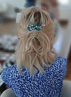 Гребінець та невидимка для волосся з кришталю та бірюзи. Прикраси для волосся