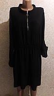 Черное платье с резинкой на талии из креп-шифона