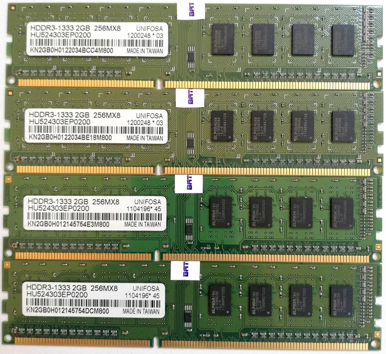 Комплект оперативной памяти Unifosa DDR3 8Gb (4*2Gb) 1333MHz PC3 10600U CL9 (HU524303EP0200) Б/У
