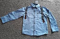 Рубашка школьная детская модная с бабочкой на мальчика и подтяжками 7-10 лет