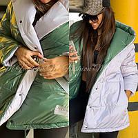 Женская двухсторонняя куртка зефирка с капюшоном из лаковой плащевки r71mku111