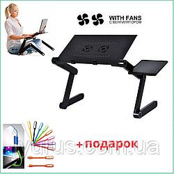 Столик для ноутбука / Два вентилятора охлаждения Laptop Table T8 Подставка с активным охлаждением кулер