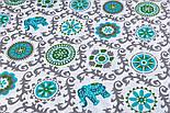 """Лоскут ткани """"Слоны с серо-бирюзовым узором"""" № 2248а, размер 41*78 см, фото 3"""
