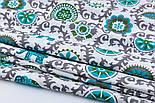 """Лоскут ткани """"Слоны с серо-бирюзовым узором"""" № 2248а, размер 41*78 см, фото 5"""