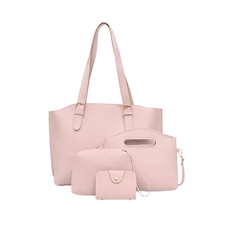 Женская розовая сумка набор 4в1