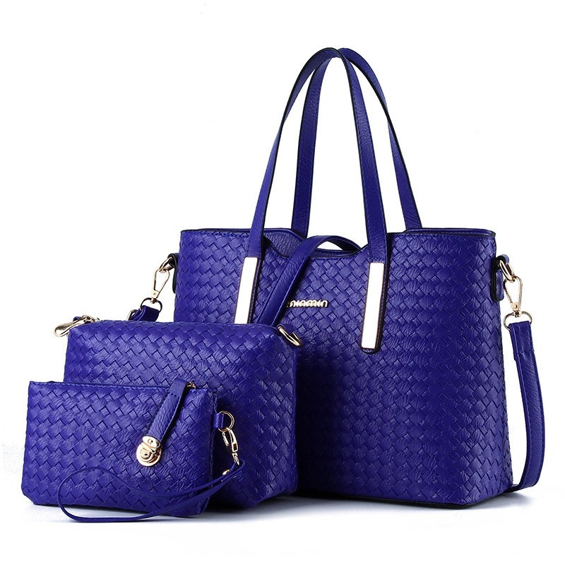 Женская сумка набор 3в1 + маленькая сумочка и клатч синий