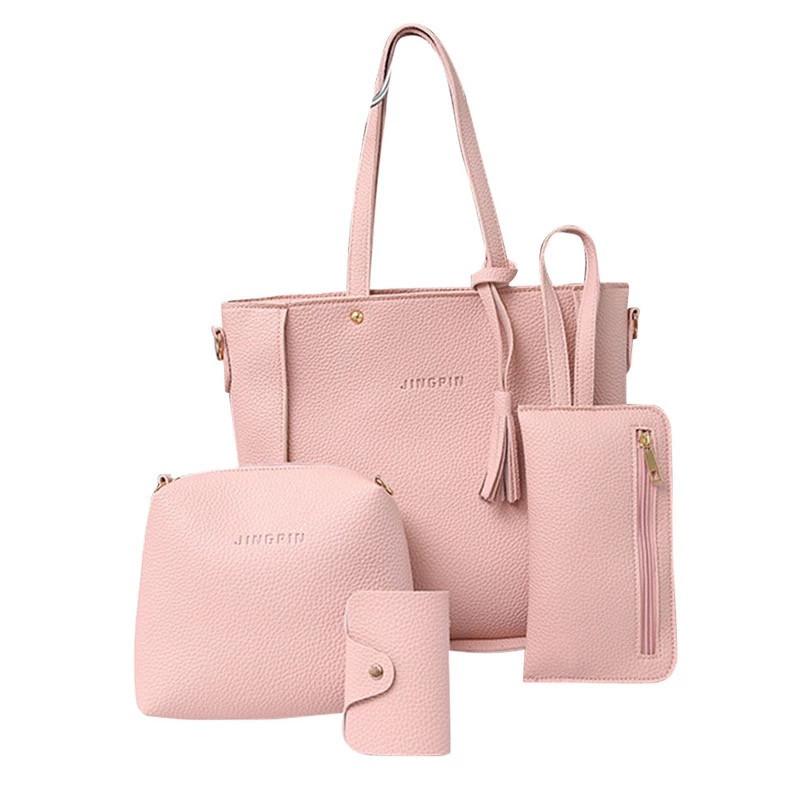 Женские сумки в наборе, цвет розовый 4в1