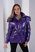 Ультрамодная лаковая куртка - новинка 2020 фабрики ZLLY 19301 фиолетового цвета