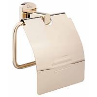 Держатель для туалетной бумаги с крышкой цвет золото Q-tap Liberty ORO 1151