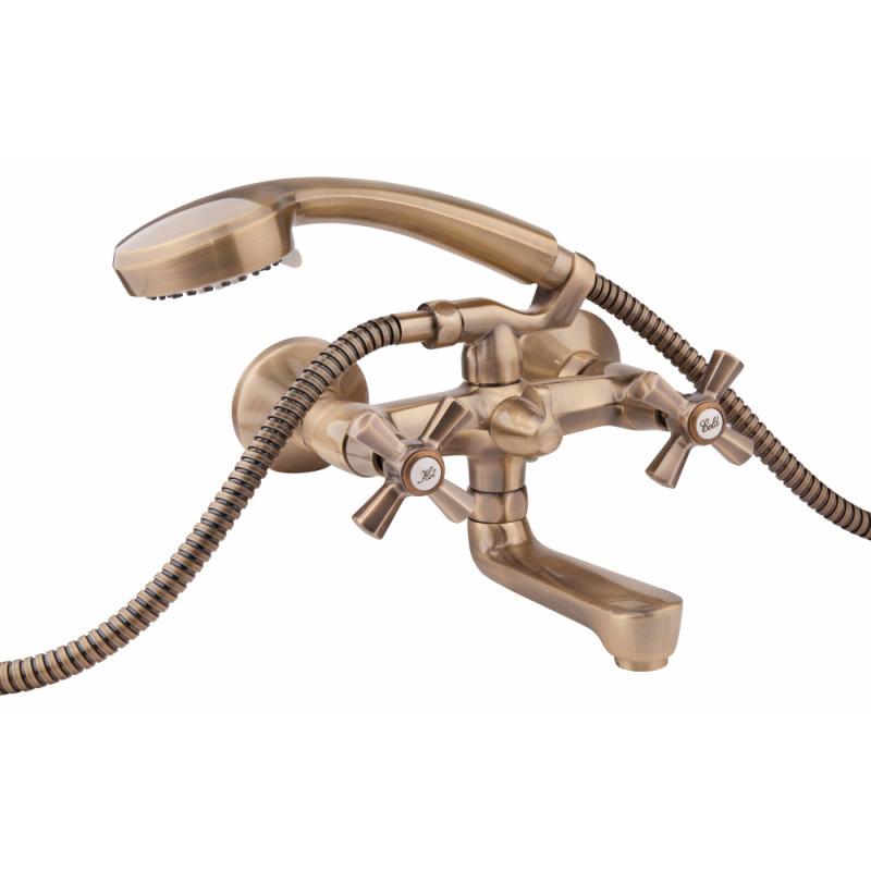 Двухвентильный латунный смеситель для ванны цвет бронза Q-tap Liberty ANT 140-2