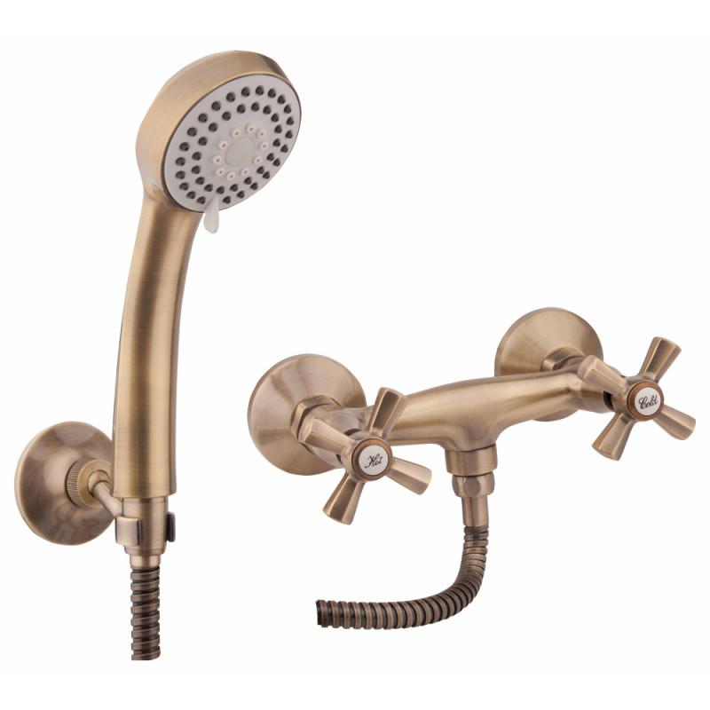 Двухвентильный латунный смеситель для душа цвет бронза Q-tap Liberty ANT 363