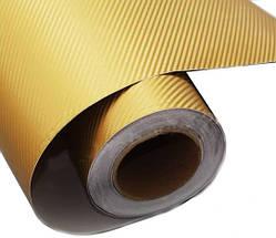 Карбонова плівка 3D рулон 50х150 см ЗОЛОТОАЯ з микроканалами, фото 2