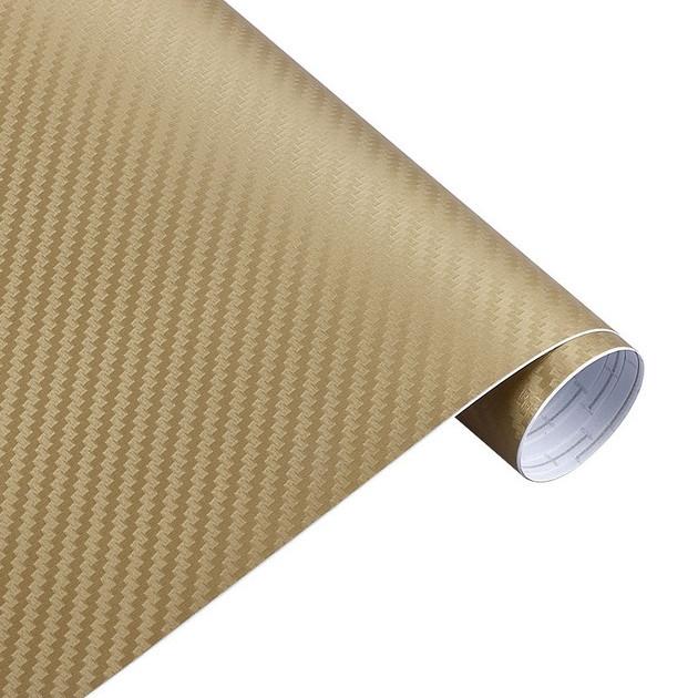 Карбонова плівка 3D рулон 50х150 см ЗОЛОТОАЯ з микроканалами