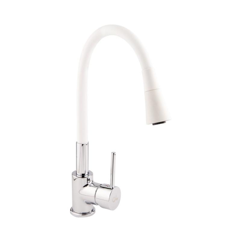 Однорычажный латунный смеситель для кухни с гибким изливом цвет белый хром (лейкой на 2 режима) Q-tap Spring CRW 007F-1