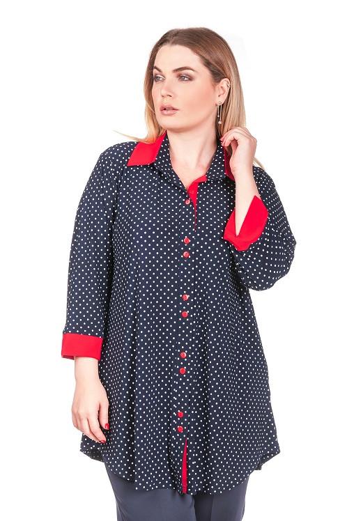 Рубашка женская размер плюс Горох  (52-66)