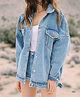 Женская джинсовая куртка оверсайз в голубом цвете 7701118