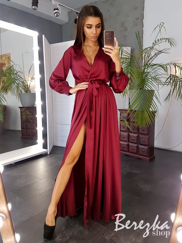 Шелковое длинное платье с верхом на запах и длинным рукавом - фонариком 6603139Q