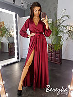 Шелковое длинное платье с верхом на запах и длинным рукавом - фонариком 6603139Q, фото 1