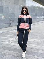 Утепленный флисом спортивный костюм женский с худи и штанами на манжетах 705722