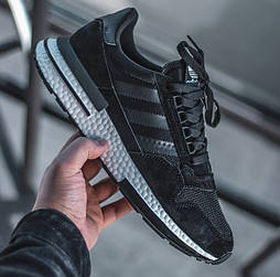 Мужские кроссовки Adidas ZX 500 RM черные с белым 41-44рр (Реплика ААА+)