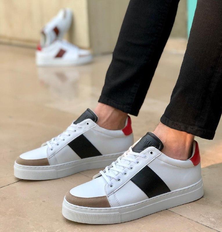 😜Кроссовки - Мужские белые кроссовки кеды с черными вставками и красными задниками