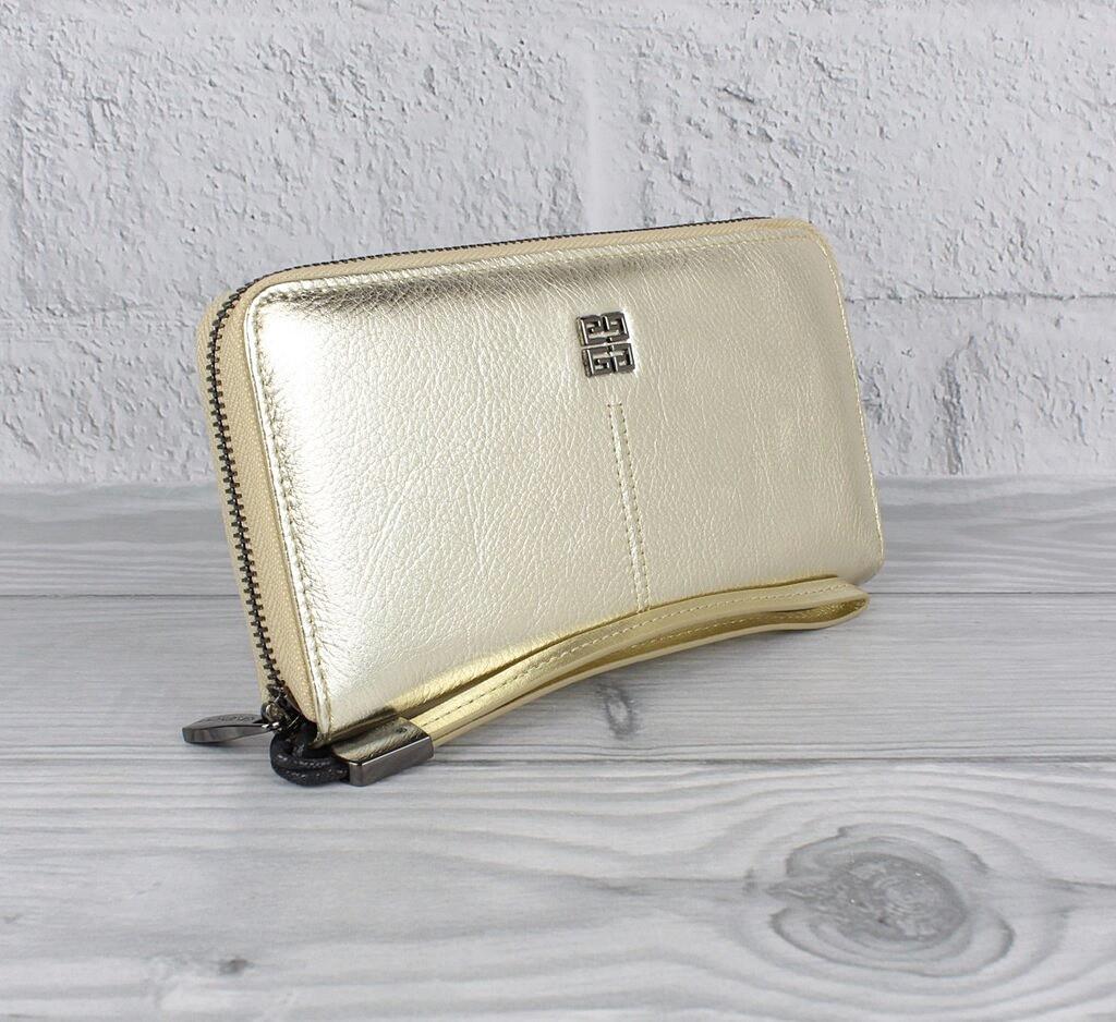Кошелек кожаный женский на молнии золотистый Givenchy 6288
