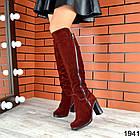Демисезонные женские сапоги цвета марсала, натуральная замша  36 40 ПОСЛЕДНИЕ РАЗМЕРЫ, фото 3