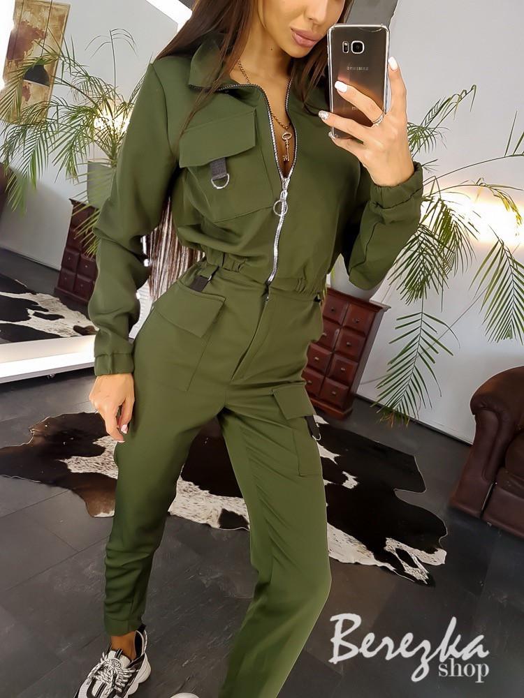 Женский костюм милитари с карго и бомбером на молнии 6610191Е