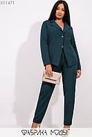 Женский брючный костюм с пиджаком в больших размерах 115224